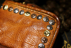 Handmade long wallet leather men rivet vintage clutch wallet for men