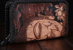 Handmade leather clutch long wallet leather men Buddha black tooled wallet