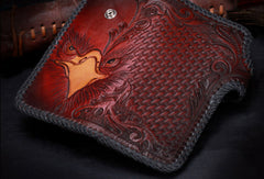 Handmade leather biker trucker Long eagle wallet leather chain men Black Tooled wallet