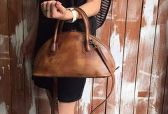Handmade Leather handbag shoulder bag brown purple for women leather crossbody bag
