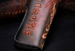 Handmade leather biker trucker Long Ganesha wallet leather chain men Brown Tooled wallet