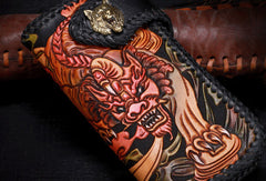 Handmade leather Long biker trucker wild Animal wallet leather chain men Black Carved Tooled wallet