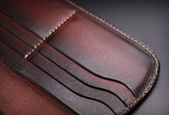 Handmade leather biker trucker wallet leather chain men vintage coffee wallet
