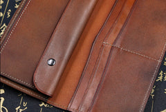 Handmade leather Long biker trucker wallet leather chain men vintage caramel wallet