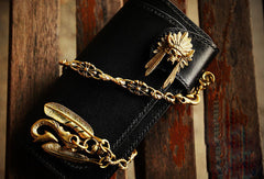 Handmade leather long biker trucker wallet black leather chain men wallet