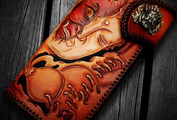 Handmade leather biker trucker wallet black Buddha leather chain men Carved Tooled wallet