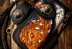 Handmade leather biker trucker wallet black floral leather chain men Carved Tooled wallet