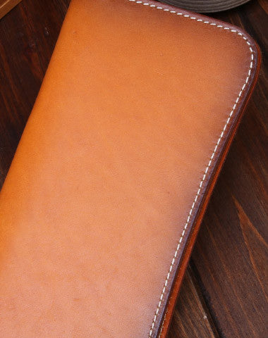 Handmade long wallet leather men brown vintage clutch wallet for men
