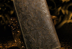 Handmade long leather wallet floral leather clutch wallets for women men zip