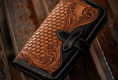 Handmade leather clutch zip long wallet black floral leather men Tooled