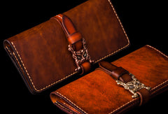 Handmade leather long clutch biker trucker chain wallet coffee brown leather men wallet