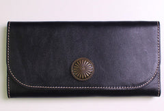 Genuine leather trifold clutch purse long wallet purse clutch zip men women