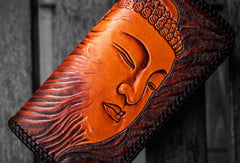 Handmade leather clutch zip long wallet black buddha leather men Tooled