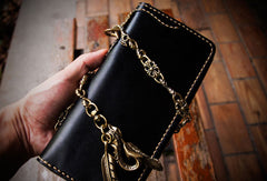 Handmade leather zip biker long trucker clutch wallet black leather chain men wallet