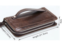 Leather Wristlet Wallet long wallet leather clutch wallet for men