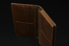 Handmade leather men wallet Hobbit carved leather custom long wallet w/card ID holder for men