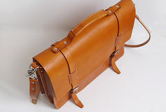 Handmade Leather messenger bag brief yellow brown for men women leather shoulder bag
