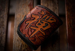 Handmade leather biker trucker wallet black billfold Bodhisattva leather chain men Carved Tooled wallet
