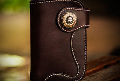 Handmade leather short biker trucker wallet black leather chain men wallet