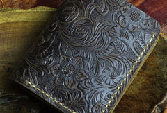 Handmade small leather wallet flowral leather billfold wallet for men women