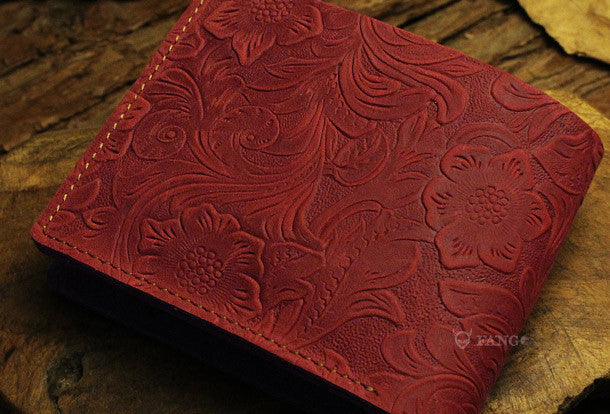 Handmade small leather wallets flowral leather billfold wallet for men women