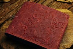 Handmade small leather wallets flowral leather short wallet for men women