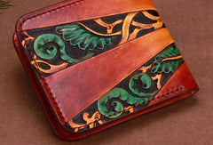 Handmade short leather wallet men tooled carved short wallet for him