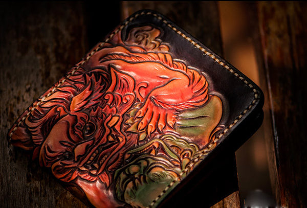 Handmade leather short wallet men tooled chinese lion carved wallet