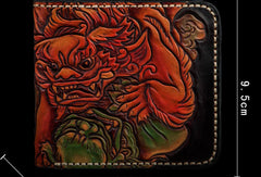 Handmade leather billfold wallet men tooled chinese lion carved wallet