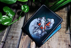 Handmade leather billfold blue skull wallet leather men Black Carved Tooled wallet