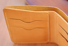 Handmade Leather short trifold wallet purse women small wallet vintage cute