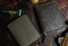 Handmade short leather wallet flowral leather zip wallet for men women