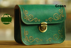 Handmade leather shoulder bag crossbody bag purse vintage carved green for her