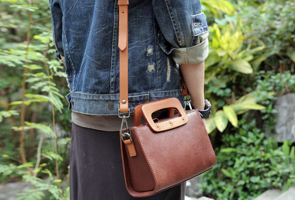 Handmade vintage satchel leather crossbody bag shoulder bag handbag for women