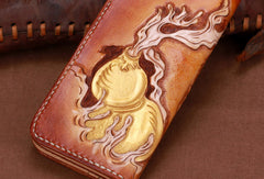 Handmade leather brown skull wallet leather long men clutch Tooled wallet