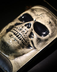 Handmade long skull clutch wallet leather men black white tooled wallet for men