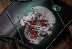 Handmade leather biker trucker wallet green skull leather chain men wallet
