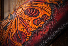 Handmade leather clutch zip long wallet black skull leather men Tooled