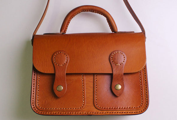 Handmade Leather satchel bag shoulder bag brown black for women leather crossbody bag