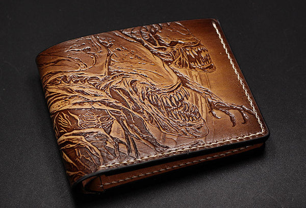 Handmade Alien tooled carved leather custom short wallet for men gamers fan