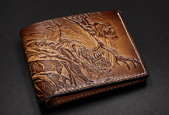 Handmade Alien tooled carved leather custom billfold wallet for men gamers fan