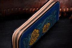 Handmade women leather Blue flowers wallet leather zip clutch Tooled wallet
