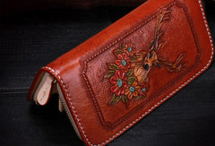 Handmade leather Brown deer wallet leather zip women clutch Tooled wallet