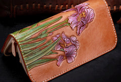 Handmade women leather Brown orchid flower wallet leather zip clutch Tooled wallet