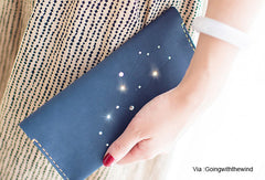 Handmade Women Leather Long Wallet Purse Clutch Wallet Constellation