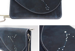 Handmade Leather purse shoulder bag constellation women leather crossbody bag