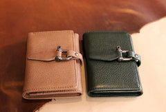Handmade vintage purse leather wallet short wallet coin wallet green beige women
