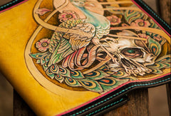 Handmade leather long tooled wallet yellow skull peacock men clutch wallet