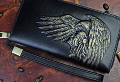 Handmade zip long wallet leather men Indian Cheif clutch phone wallet for men