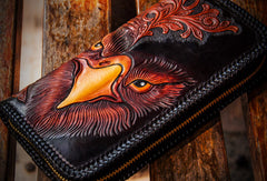 Handmade leather clutch zip long wallet black eagle leather men Tooled